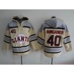 MLB San Francisco Giants #40 Madison Bumgarner Cream All Stitched Hooded Sweatshirt