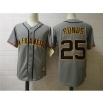 Men's Throwback San Francisco Giants #25 Barry Bonds Grey Cooperstown Collection MLB Jersey