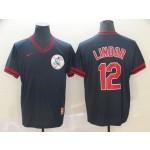 MLB Cleveland Indians #12 Francisco Lindor Navy Nike Throwback Jersey