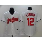 MLB Cleveland Indians #12 Francisco Lindor White 2020 Nike Cool Base Jersey