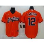 MLB Cleveland Indians #12 Francisco Lindor Orange 2020 Nike Cool Base Jersey