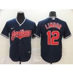 MLB Cleveland Indians #12 Francisco Lindor Navy 2020 Nike Cool Base Jersey