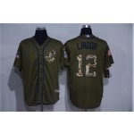 MLB Cleveland Indians #12 Francisco Lindor Olive 2020 Nike Cool Base Jersey