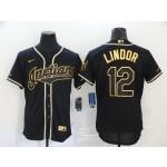 MLB Cleveland Indians #12 Francisco Lindor Black Gold 2020 Nike Flexbase Jersey