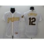 MLB Cleveland Indians #12 Francisco Lindor White Gold 2020 Nike Flexbase Jersey