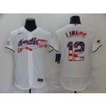 MLB Cleveland Indians #12 Francisco Lindor White USA Flag Nike Flexbase Jersey