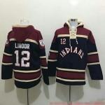 MLB Cleveland Indians #12 Francisco Lindor Navy All Stitched Hooded Sweatshirt