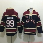 MLB Cleveland Indians #99 Ricky Vaughn Navy All Stitched Hooded Sweatshirt