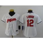 Women Cleveland Indians #12 Francisco Lindor White 2020 Nike Cool Base Jersey