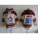 MLB Toronto Blue Jays #55 Russel Martin Cream All Stitched Hooded Sweatshirt