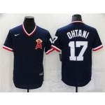 Los Angeles Angels #17 Shohei Ohtani Vintage Navy Blue Jersey