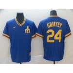 MLB Seattle Mariners #24 Ken Griffey Jr. Blue Nike Throwback Jersey