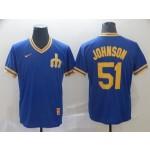 MLB Seattle Mariners #51 Randy Johnson Blue Nike Throwback Jersey