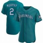 Men's Seattle Mariners #2 Tom Murphy Nike Aqua Alternate 2020 Authentic Player MLB Jersey
