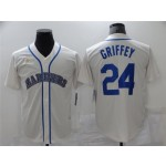 Seattle Mariners #24 Ken Griffey Jr. Cream Cooperstown Collection Cool Base Jersey