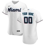Men's Miami Marlins Custom Nike White Home 2020 Authentic Flexbase MLB Jersey(Name and number remark in comment column)