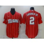 Miami Marlins #2 Jazz Chisholm Jr. Red 2021 City Connect Cool Base Jersey