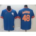 MLB New York Mets #48 Jacob DeGrom Blue Nike Throwback Jersey