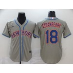 MLB New York Mets #18 Darryl Strawberry Grey 2020 Nike Cool Base Jersey