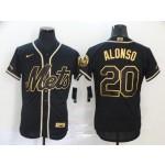 MLB New York Mets #20 Pete Alonso Black Gold 2020 Nike Flexbase Jersey