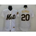 MLB New York Mets #20 Pete Alonso White Gold 2020 Nike Flexbase Jersey