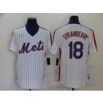 MLB New York Mets #18 Darryl Strawberry White Pinstripe Throwback Nike Jersey