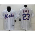 New York Mets #23 Javier Baez White Cool Base Jersey