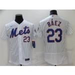 New York Mets #23 Javier Baez White Flex Base Jersey