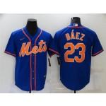 New York Mets #23 Javier Baez Royal-Orange Cool Base Jersey