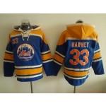 MLB New York Mets #33 Matt Harvey Blue All Stitched Hooded Sweatshirt