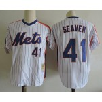 Men's Throwback New York Mets #41 Tom Seaver White Pinstripe Cooperstown Collection MLB Jersey