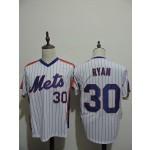 Men's Throwback New York Mets #30 Nolan Ryan White Pinstripe Cooperstown Collection MLB Jersey