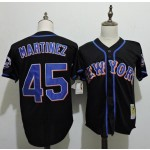 Men's Throwback New York Mets #45 Pedro Martinez Black Cooperstown Collection MLB Jersey