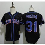 Men's Throwback New York Mets #31 Mike Piazza Black Cooperstown Collection MLB Jersey