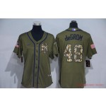 Women New York Mets #48 Jacob DeGrom Olive 2020 Nike Cool Base Jersey