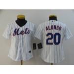 Women New York Mets #20 Pete Alonso White 2020 Nike Cool Base Jersey