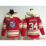 MLB Washington Nationals #34 Bryce Harper Red All Stitched Hooded Sweatshirt