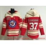 MLB Washington Nationals #37 Stephen Strasburg Red All Stitched Hooded Sweatshirt