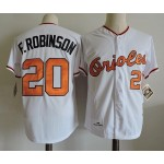 Men's Throwback Baltimore Orioles #20 Frank Robinson White Jersey