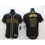 MLB San Diego Padres #19 Tony Gwynn Black Gold 2020 Nike Flexbase Jersey