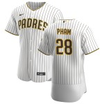 Men's San Diego Padres #28 Tommy Pham Nike White Brown Home 2020 Authentic Player Jersey