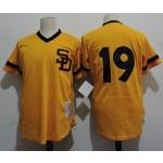 Men's Throwback San Diego Padres #19 Tony Gwynn Gold 1982 Mitchell & Ness Mesh Jersey
