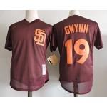 Men's Throwback San Diego Padres #19 Tony Gwynn Brown Mitchell & Ness Mesh Jersey