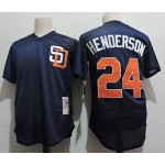 Men's Throwback San Diego Padres #24 Rickey Henderson Navy Mitchell & Ness Mesh Jersey