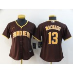 Women San Diego Padres #13 Manny Machado Brown 2020 Nike Cool Base Jersey