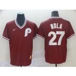MLB Philadelphia Phillies #27 Aaron Nola Red Nike Throwback Jersey