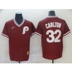 MLB Philadelphia Phillies #32 Steve Carlton Red Nike Throwback Jersey