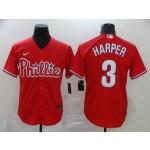 MLB Philadelphia Phillies #3 Bryce Harper Red 2020 Nike Cool Base Jersey