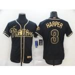 MLB Philadelphia Phillies #3 Bryce Harper Black Gold 2020 Nike Cool Base Jersey