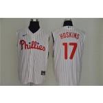 MLB Philadelphia Phillies #17 Rhys Hoskins White Nike Cool Base Sleeveless Jersey